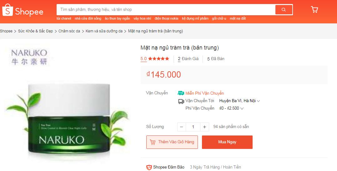 Giá mask ngủ Naruko tràm bản Trung trên thị trường